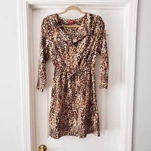 Drawstring Waist Leopard Print Shirtdress